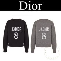 Christian Dior JADIOR Crew Neck Cable Knit Casual Style Cashmere Street Style