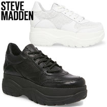 Steve Madden Platform Lace-up Casual Style Street Style Plain Leather