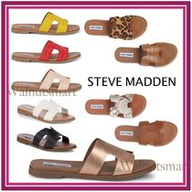 Steve Madden Leopard Patterns Open Toe Rubber Sole Casual Style
