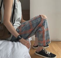 Tapered Pants Other Check Patterns Street Style Cotton