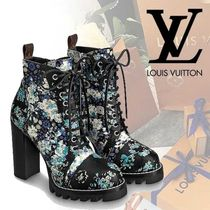 Louis Vuitton Flower Patterns Leather Elegant Style Chunky Heels