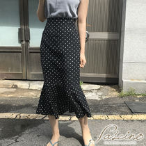 Pencil Skirts Dots Casual Style Cotton Long Midi Maxi Skirts