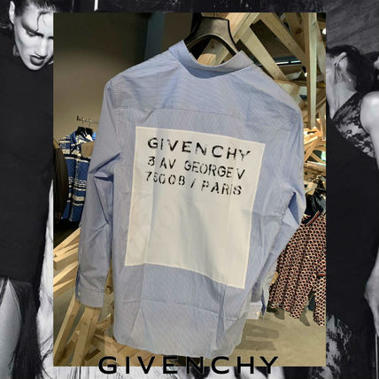 GIVENCHY Shirts Stripes Street Style Long Sleeves Cotton Shirts