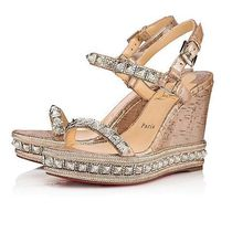 Christian Louboutin Open Toe Studded Leather Handmade Elegant Style