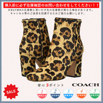 Coach Leopard Patterns Round Toe Casual Style Chunky Heels
