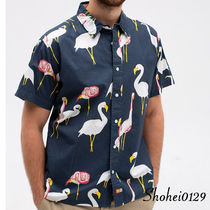 Ron Herman Button-down Tropical Patterns Unisex Cotton Short Sleeves
