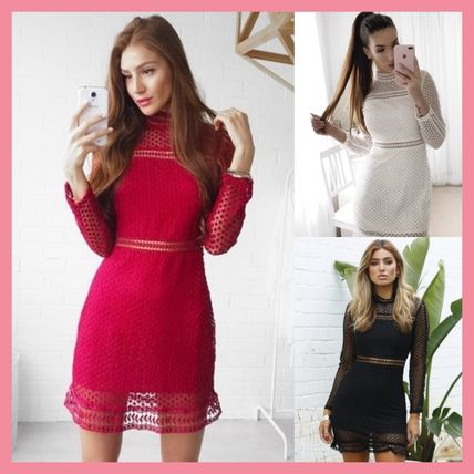 Short Tight Long Sleeves Party Style High-Neck Dresses