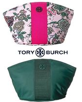 Tory Burch Flower Patterns Nylon Plain Pouches & Cosmetic Bags