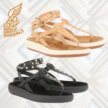ANCIENT GREEK SANDALS Open Toe Casual Style Studded Plain Leather Sandals
