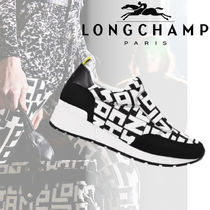 Longchamp Monogram Casual Style Street Style Leather Low-Top Sneakers