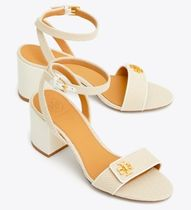 Tory Burch Open Toe Plain Leather Block Heels Elegant Style