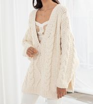 & Other Stories Cable Knit Casual Style Rib V-Neck Long Sleeves Plain Cotton