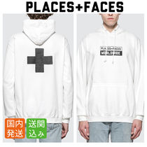 PLACES+FACES Pullovers Street Style Long Sleeves Plain Cotton Hoodies