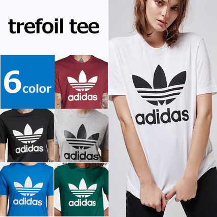 adidas Crew Neck Crew Neck Unisex Street Style Plain Cotton Short Sleeves