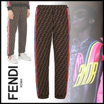 FENDI Monogram Street Style Cotton Joggers & Sweatpants
