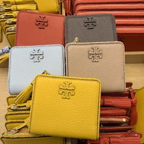 Tory Burch Monogram Unisex Plain Leather Folding Wallets