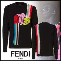 FENDI Crew Neck Pullovers Street Style Long Sleeves Plain