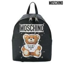 Moschino Casual Style Faux Fur Plain Backpacks
