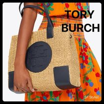 Tory Burch ELLA TOTE Unisex Blended Fabrics A4 Plain Leather Straw Bags