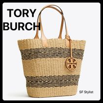 Tory Burch MILLER Unisex Blended Fabrics A4 Plain Leather Logo Straw Bags