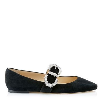 Jimmy Choo Suede Plain With Jewels Elegant Style Pointed Toe Shoes