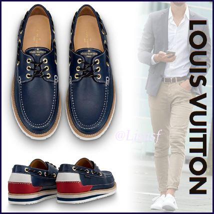 Louis Vuitton Loafers & Slip-ons Blended Fabrics Street Style Bi-color Leather