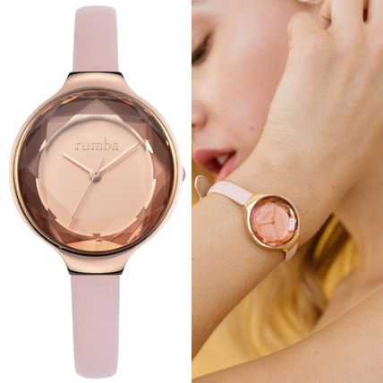 Casual Style Blended Fabrics Round Stainless Analog Watches