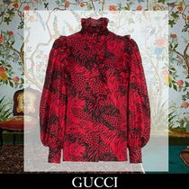 GUCCI Leopard Patterns Silk Long Sleeves Elegant Style