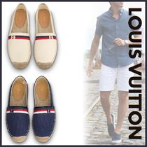 Louis Vuitton Plain Toe Blended Fabrics Bi-color Plain Loafers & Slip-ons