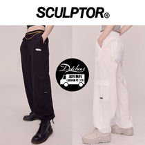 SCULPTOR Casual Style Linen Street Style Plain Long Oversized Pants