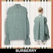 Burberry Gingham Puffed Sleeves Cotton Shirts & Blouses