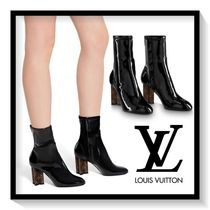 Louis Vuitton Monogram Blended Fabrics Plain Leather Block Heels