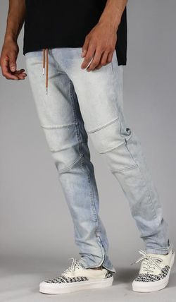 Tapered Pants Denim Street Style Plain Jeans