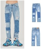 ROMANTIC CROWN Unisex Denim Street Style Cotton Jeans & Denim
