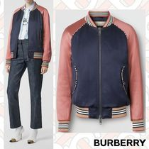 Burberry Stripes Monogram Street Style Medium Varsity Jackets