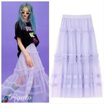 ELF SACK Flared Skirts Casual Style Street Style Plain Long