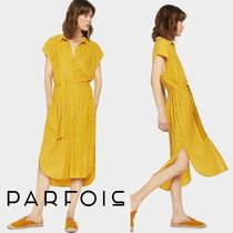 PARFOIS Stripes Casual Style Medium Shirt Dresses Dresses