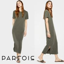 PARFOIS Casual Style Plain Long Short Sleeves Dresses