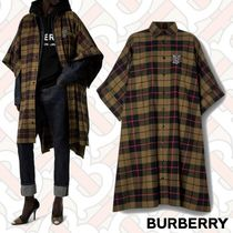 Burberry Tartan Monogram Unisex Long Oversized Khaki Ponchos & Capes