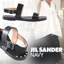 JIL SANDER NAVY Casual Style Studded Street Style Plain Leather