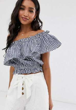 Short Gingham Casual Style Cotton Fringes Cropped