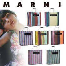 MARNI Stripes Casual Style Unisex Nylon Blended Fabrics A4 Totes