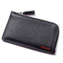 PRADA Unisex Plain Leather Coin Cases