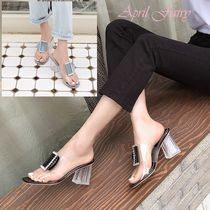 Open Toe Casual Style PVC Clothing Chunky Heels