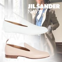 JIL SANDER NAVY Plain Toe Street Style Plain Leather Elegant Style