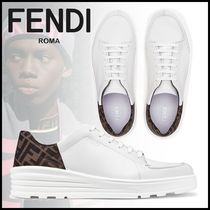 FENDI Monogram Street Style Plain Leather Sneakers