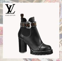 Louis Vuitton Monogram Casual Style Studded Plain Leather Block Heels