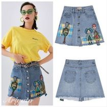 ELF SACK Pencil Skirts Short Other Check Patterns Denim Street Style
