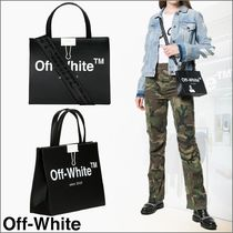 Off-White Casual Style Unisex 2WAY Plain Leather Totes