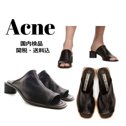 Open Toe Casual Style Plain Leather Chunky Heels